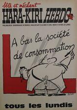 """""""HARA-KIRI HEBDO n°12 du 21/4/69"""" Affiche d'intérieur originale entoilée REISER"""