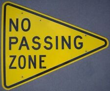 NO PASSING ZONE Road Street Sign 41x34 Vintage Authentic Aluminum Man Cave USA