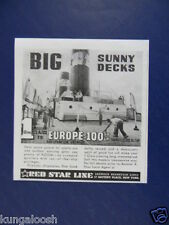 1939 BIG SUNNY DECKS - RED STAR LINE CRUISE LINE - TRAVEL PROMO ART AD