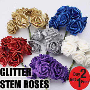 LARGE 6CM FOAM ROSES - Bunch of 6 Colourfast Artificial Wedding Flowers Bouquet