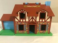 Vintage Fisher Price Little People Play Family House Brown Tudor #952 Extras
