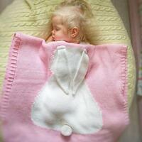 Newborn Baby Kids Rabbit Knit Swaddling Blanket Bedding Quilt Soft Crochet Rug