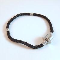 "1 Bracelet - 7.75"" Black Leather Silver Brass for European Charm Beads EB0003"