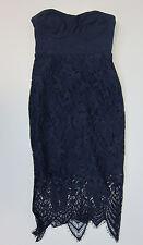 Lipsy London Strapless Convertible Crochet Detail Dress - US 4 - Blue - NWT