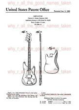 U.S. PATENT : 1960 FENDER Precision Electric Bass Guitar - A4 Printed Repro Art