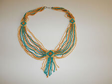 FREE PEOPLE NECKLACE JEWELRY MULTICOLOR BEADS TURQUOISE TAN TRIBAL BRAND NEW#446
