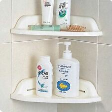 New 3 Tire White Wall Mount Corner Shelf Bathroom Kitchen Suction Cup Adjustable