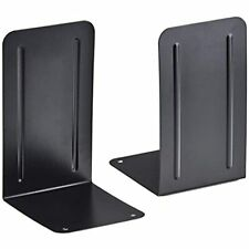Acrimet Premium Metal Bookends (Heavy Duty) (Black Color) (1 Pair) Office