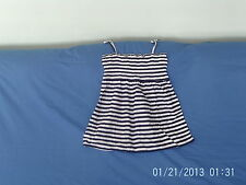 Girls 10-11 Years - Navy Blue & White Striped Sleeveless Tunic Top - Cherokee