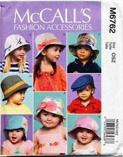 MCCALL'S SEWING PATTERN 6762 BABY/TODDLERS SZ XS-XL SUN HATS & CAPS - 8 STYLES