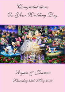 Personalised Mickey Mouse Wedding Day Congratulations Card