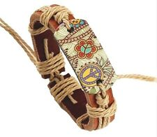 Wide Leather Bracelet Printed Peace Butterfly Flowers