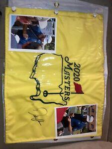 Dustin Johnson Signed 2020 Masters Golf flag Augusta 2021 Ryder cup BONUS ITEMS