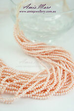 10 Strands(1800beads) 3mm Light Pink/Rosalin Imitation Acrylic Round Pearl Beads