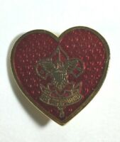 Vintage Cub Scout Webelos Red Heart Enamel Pin and Be Prepared 1""