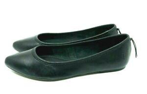 FRYE NEW Regina Black Leather Ballet Flats Slip On Tassle Rubber Sole US 7.5 M