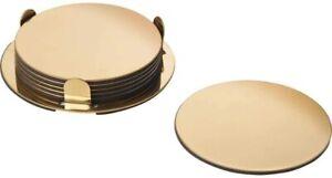 IKEA Glattis Coasters Set of 6 Coasters with Holder – Gold/Brass – 8.5 cm Dia