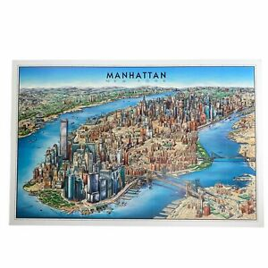 Map of Manhattan, New York Twin Towers Unique Media Artistic Illustrated