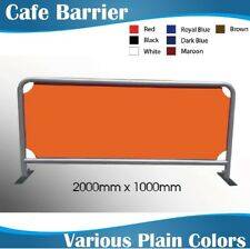 2m Silver Round Tube Cafe Barriers Coffee Barriers with Plain Color Banner