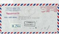 Japan 1980 The Fuji Bank Ltd Registered Airmail Meter Mail Stamp Cover Ref 29998