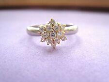 LQQK Gorgeous Platinum pt 900 & 18k Yellow Gold Diamond Cluster Ring sz 5.75