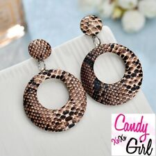 Gorgeous Brown Big Hoop Animal Print Leather Look Drop Dangle Fashion Earrings