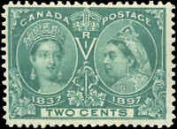 1897 Mint H Canada F+ Scott #52 2c Diamond Jubilee Issue Stamp