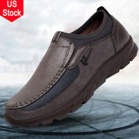 US Men's Summer Leather Casual Shoes Wear-resisting Antiskid Loafers Moccasins
