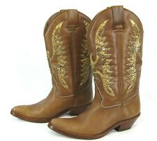 COWBOY BOOTS El Boto De Cuero BROWN LEATHER Thunderbird Women's Shoes 37 / 6.5