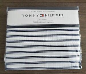 Tommy Hilfiger White Navy Stripe New Full Sheet Set 4pc
