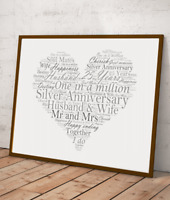 Personalised Silver Wedding 25th Anniversary Word Art Gift - Add Your Own Words