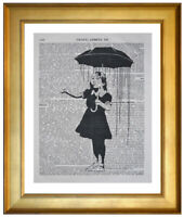BANKSY UMBRELLA GIRL ART PRINT ON OLD ANTIQUE DICTIONARY ENCYCLOPAEDIA BOOK PAGE