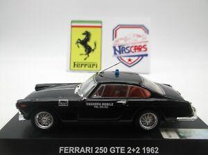 """1/43 Ferrari 250 GTE 2+2 Squadra Mobile """"police italienne"""" 1962 Ixo De Agostini"""