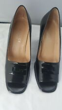 "Gucci Women's Black Leather Open Toe Leather Classic Pumps 3.5"" Heel Logo Sz 5B"