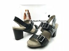 NEW Hush Puppies Leonie Mariska Women's Black Leather Sandal Heels US 9.5 W B221