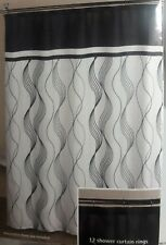 MAINSTAYS BLACK WHITE ABSTRACT DESIGN SHOWER CURTAIN 70 X 70 NWOT/NO BOX