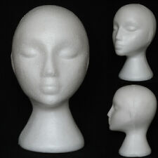 White Female Polystyrene Mannequin Head Dummy Wig Stand Shop Display Hat Cap