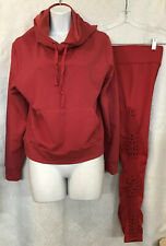Carbon 38 Athletic Leggings And Hooded Sweatshirt Rust Macramé Sides Size S