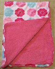 Little Bedding By NOJO Cozy Baby Girl Pink Blue Aqua Plush Sherpa Blanket A2