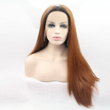 Red brown copper wig ombre black root Lace Front hair long Women's use Wigs