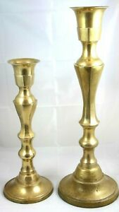 """Large Brass Candlestick Holders Vintage Floor Set of 2 Pair ~18"""", ~24"""" India"""