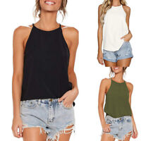 Women Halter Pure Color Sexy Camisole Round Neck Sleeveless Tank Top Casual Vest