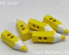 5 CUTE YELLOW PENCIL CRAYON SHAPED BUTTONS SEWING KNITTING SCRAPBOOKS SCHOOL