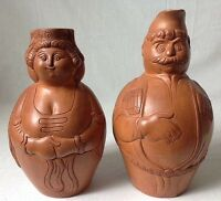 Vintage Carved Clay Figural Pitcher European Man and Woman Unsigned Help w ID?