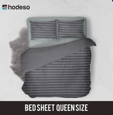 Hodeso Bedsheet Stripes Queen Size With Two FREE Pillow Case (Grey)
