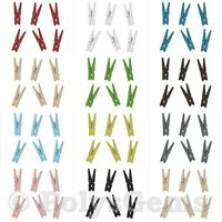 20 MINI WOODEN CRAFT PEGS 30MM or 35MM  13 COLOURS CRAFT CARDMAKING