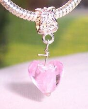 Pink Foil Murano Glass Heart Dangle Charm for Silver European Bead Bracelets