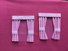 """2 pink gingham  dolls house curtains 3.5"""" x 4"""""""