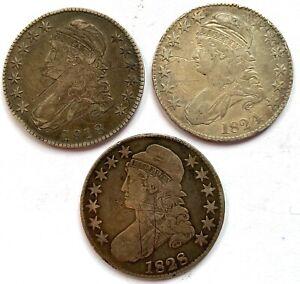 THREE CAPPED BUST HALF DOLLARS 1818, 1824 & 1828 S HIGH GRADE CIRCULATED