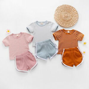 Toddler Kids Baby Girls Summer Outfits Clothes T-shirt Vest Tops + Shorts Set
